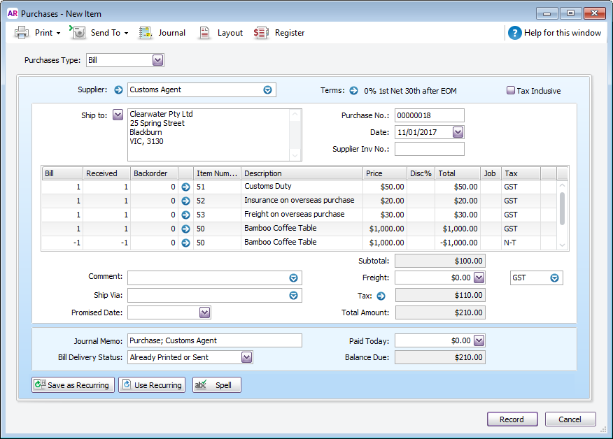 Example bill with itemised import costs