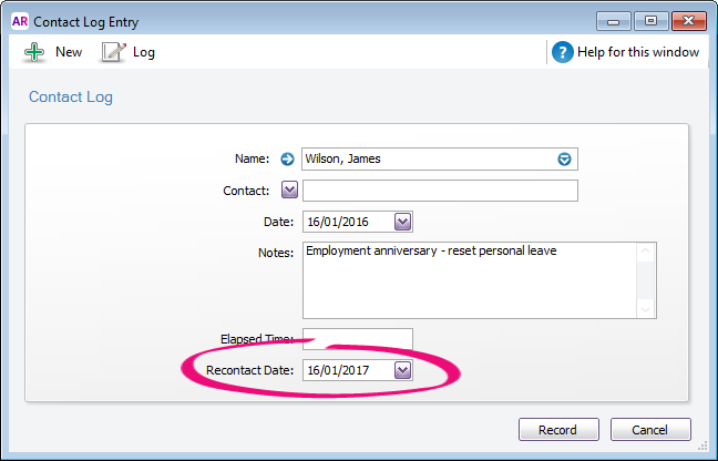 Example contact log with recontact date highlighted
