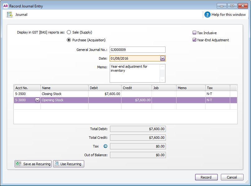 how to enter end of year adjustment journal in myob
