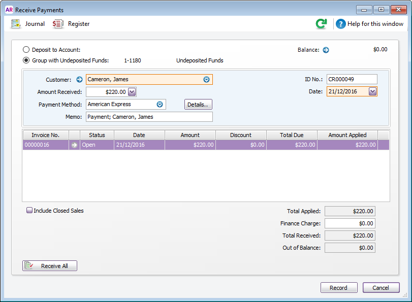 Receive payments window with group with undeposited funds option selected