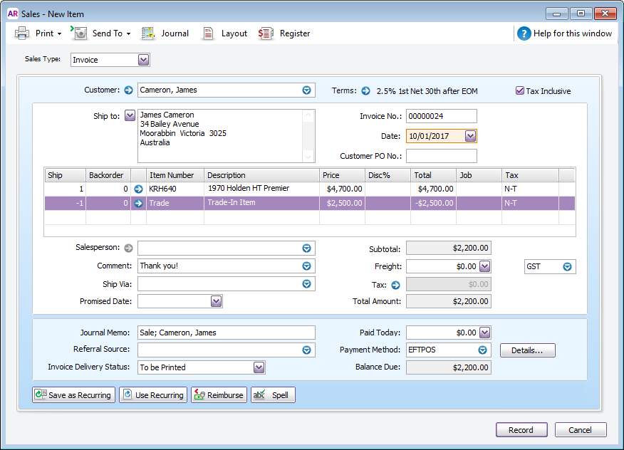 how to record pay bills in myob