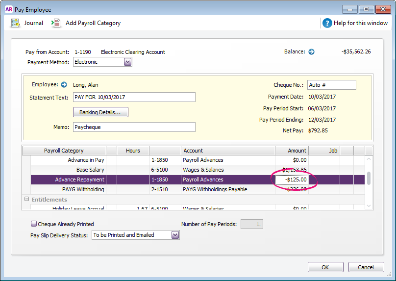 Pay employee window with advance repayment amount highlighted