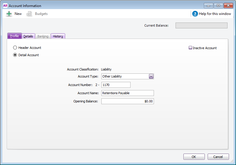 Example liability account setup