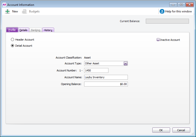 Example asset account setup