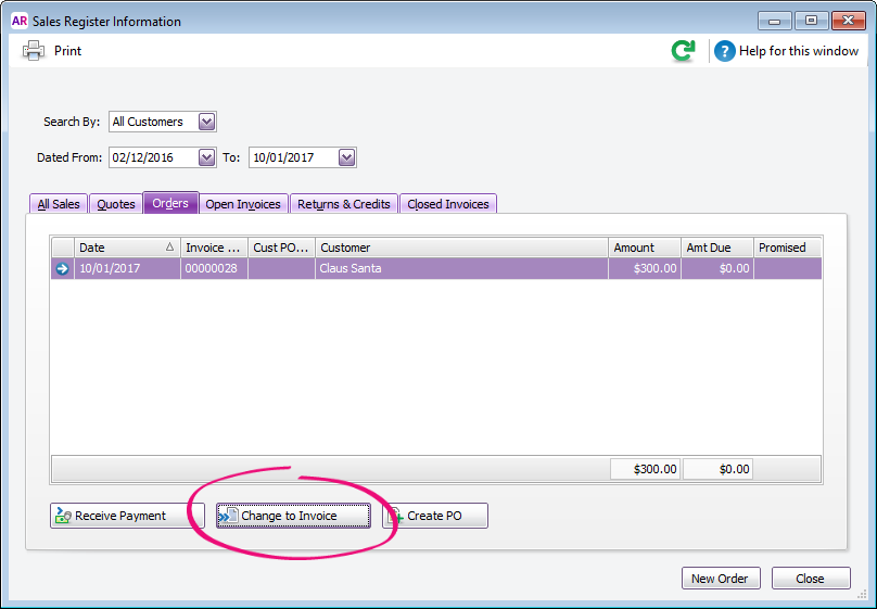 Orders tab of the sales register with change to invoice button highlighted