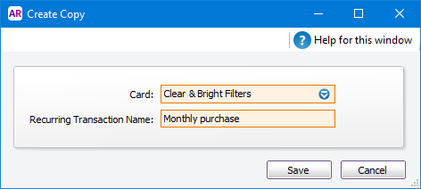 create copy window with card and name specified