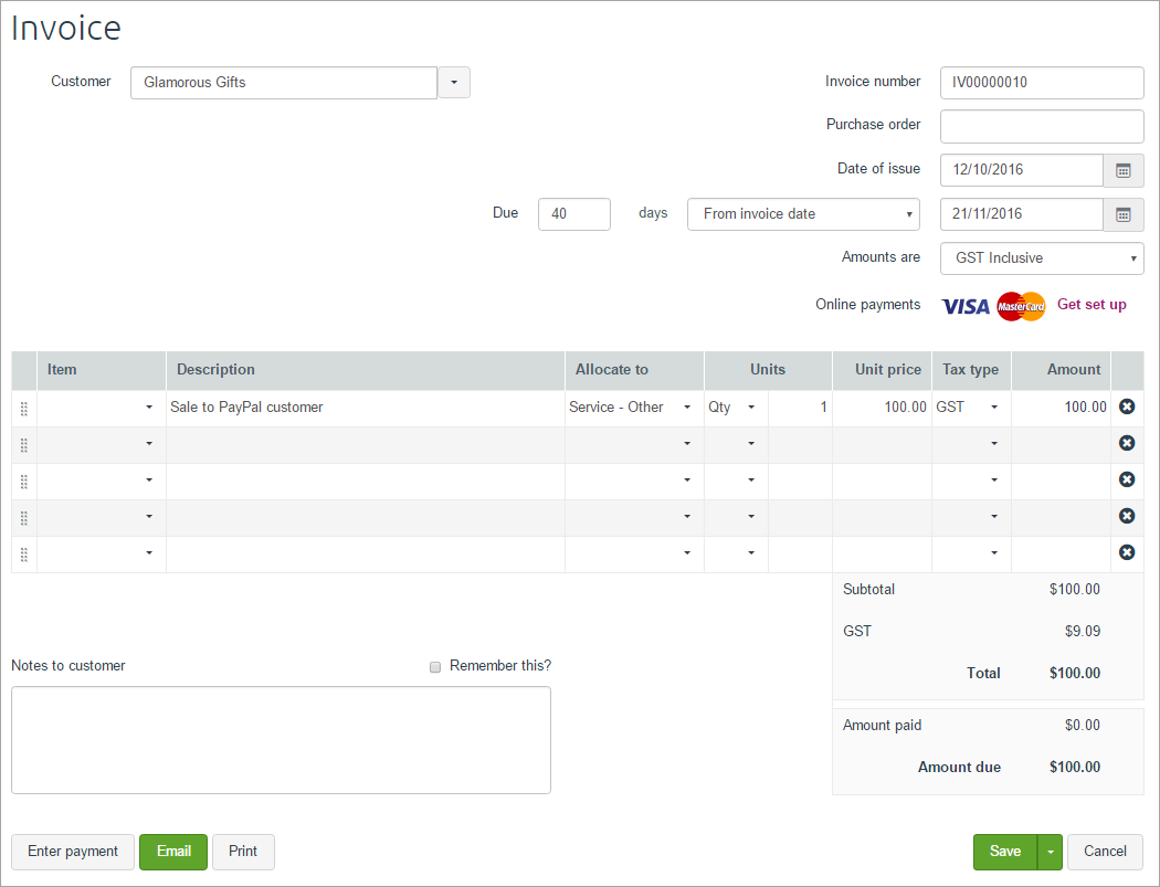 setting up and receiving payments through paypal myob essentials