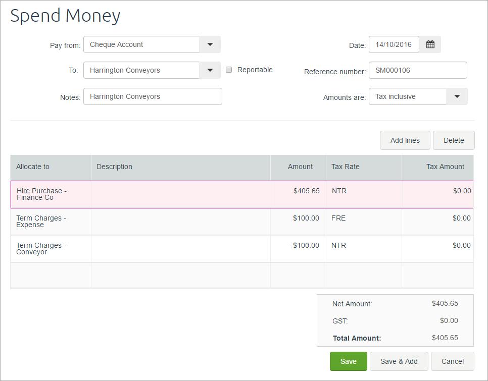 Set Up A Hire Purchase Arrangement Myob Essentials Accounting