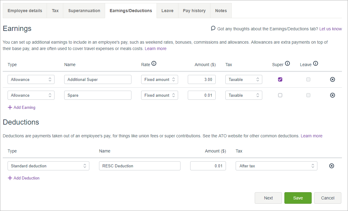 how to set additional superannuation contribution in myob