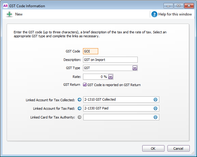 how to set up new tax code in myob