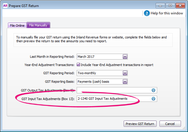 GST return setup with box 13 account highlighted