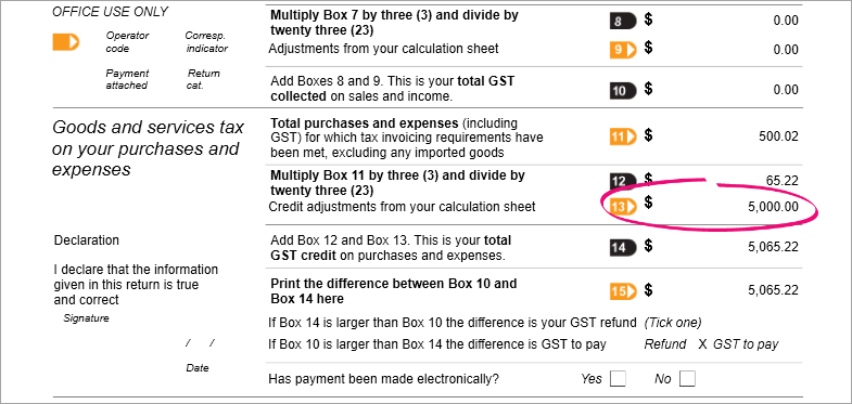 Example GST return with box 13 highlighted